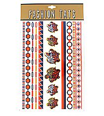 1 Sheet of Navy and Orange Auburn Themed Tattoos #TT0023-GNVOR
