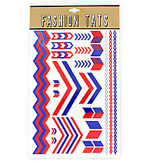 1 Sheet of Blue and Red Chevron Tattoos #TT0025-BLRD