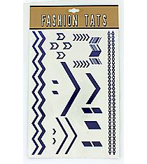 1 Sheet of Royal Blue and White Chevron Tattoos #TT0025-BLWT