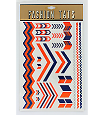 1 Sheet of Navy and Orange Chevron Tattoos #TT0025-NVOR