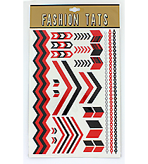 1 Sheet of Red and Black Chevron Tattoos #TT0025-RDBK