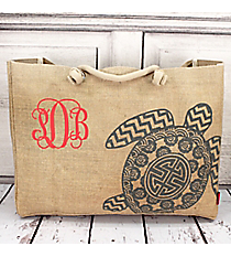 Large Jute Shoulder Tote with Gray Sea Turtle #TU634-GRAY