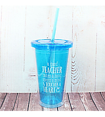 Blue 'Touches a Heart' Teacher Blessings Double Wall Tumbler #TUMB002
