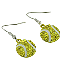 Sparkling Crystal Tennis Ball Dangling Earrings #23377-S