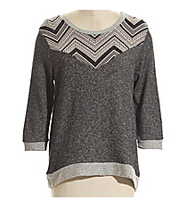 Charcoal Scoop Neck Sweater with Chevron Accent #3074-CHARCOAL *Choose Your Size