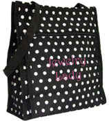 White Mini Polka Dots on Black Shopper Tote #TH3013W/PH3013W -504