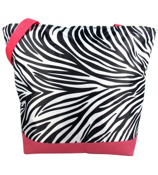 Market Shopping Tote in Zebra with Pink Trim #ST18-2006-P