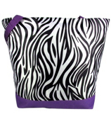 Market Shopping Tote in Zebra with Purple Trim #ST18-2006-PU