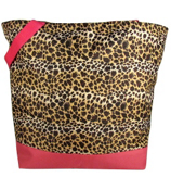 Market Shopping Tote in Leopard with Pink Trim #ST18-2008-P