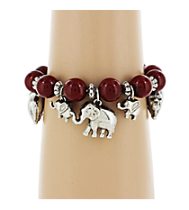 Elephant Red Beaded Charm Bracelet #UB9568-RED