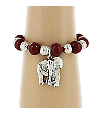 Red and Silvertone Beaded Elephant Bracelet #UB9569-RED