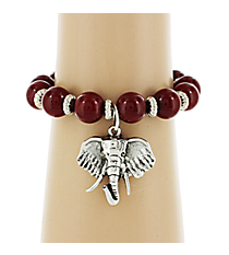 Red and Silvertone Beaded Elephant Bracelet #UB9570-RED