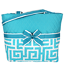 Light Aqua Greek Key Quilted Diaper Bag #UHA2121-L/AQUA