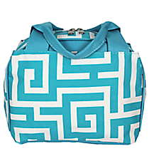 Aqua Greek Key Insulated Bowler Style Lunch Bag #UHA255-AQUA