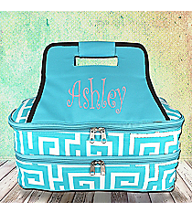 Aqua Greek Key Insulated Double Casserole Tote #UHA391-AQUA