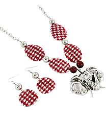 "30"" Elephant Pendant Houndstooth Disk Necklace and Earring Set #ULE60035-RED"