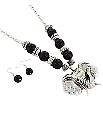 "24"" Black Beaded Silvertone Elephant Necklace and Earring Set #UNE50092-BLK"