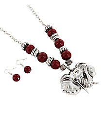 "24"" Red Beaded Silvertone Elephant Necklace and Earring Set #UNE50092-RED"