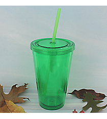 Apple Green 16 oz. Double Wall Tumbler with Straw #WA334004-AG