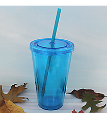 Aqua 16 oz. Double Wall Tumbler with Straw #WA334004-AQ