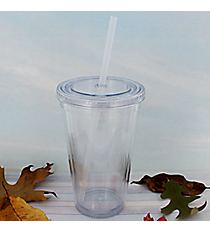 Clear 16 oz. Double Wall Tumbler with Straw #WA334004-CL