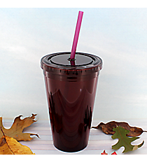 Maroon 16 oz. Double Wall Tumbler with Straw #WA334004-MAR