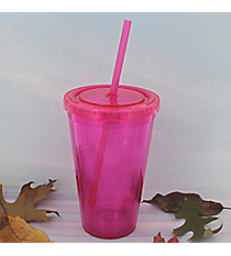 Magenta 16 oz. Double Wall Tumbler with Straw #WA334004-MG
