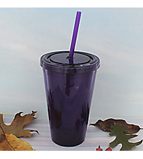 Purple 16 oz. Double Wall Tumbler with Straw #WA334004-PU