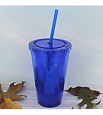 Royal Blue 16 oz. Double Wall Tumbler with Straw #WA334004-RBL
