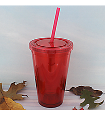 Red 16 oz. Double Wall Tumbler with Straw #WA334004-RD
