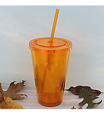 Tangerine 16 oz. Double Wall Tumbler with Straw #WA334004-TG