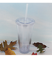 Clear 24 oz. Double Wall Tumbler with Straw #WA334005-CL