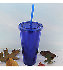 Royal Blue 24 oz. Double Wall Tumbler with Straw #WA334005-RBL