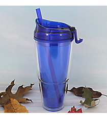 Blue 22 oz. Double Wall Tumbler with Straw #WA334010-2-BL