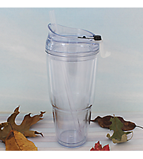 Clear 22 oz. Double Wall Tumbler with Straw #WA334010-2-CL