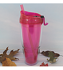 Fuchsia 22 oz. Double Wall Tumbler with Straw #WA334010-2-FUC