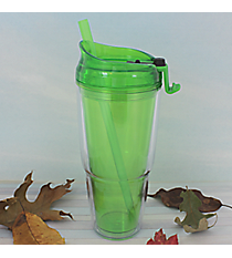 Lime Green 22 oz. Double Wall Tumbler with Straw #WA334010-2-LG
