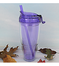 Purple 22 oz. Double Wall Tumbler with Straw #WA334010-2-PU
