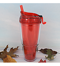 Red 22 oz. Double Wall Tumbler with Straw #WA334010-2-RD