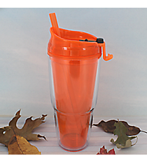 Tangerine 22 oz. Double Wall Tumbler with Straw #WA334010-2-TG