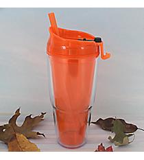 Tangerine 22 oz. Double Wall Tumbler with Straw #WA334010-2-TG