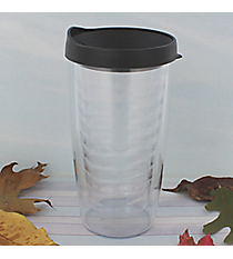 Clear 14 oz. Double Wall Tumbler with Black Lid #WA334021-CL-BK