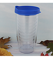 Clear 14 oz. Double Wall Tumbler with Blue Lid #WA334021-CL-BL