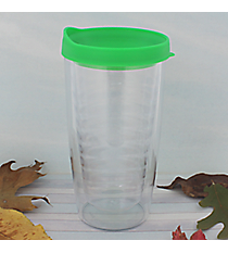 Clear 14 oz. Double Wall Tumbler with Green Lid #WA334021-CL-GN