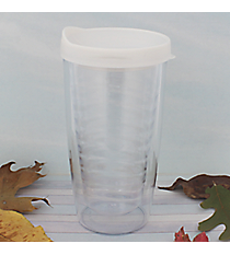 Clear 14 oz. Double Wall Tumbler with White Lid #WA334021-CL-WH
