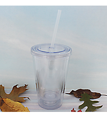 Clear 16 oz. Double Wall DIY Tumbler with Straw #WA334056-CL