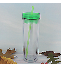 Clear 14 oz. Double Wall Tumbler with Apple Green Lid & Straw #WA334062-T-CL-AG