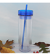Clear 14 oz. Double Wall Tumbler with Blue Lid & Straw #WA334062-T-CL-BL