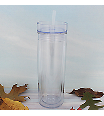 Clear 14 oz. Double Wall Tumbler with Clear Lid & Straw #WA334062-T-CL-CL