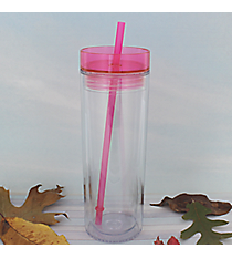 Clear 14 oz. Double Wall Tumbler with Magenta Lid & Straw #WA334062-T-CL-MG